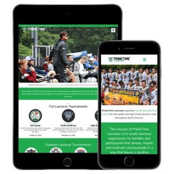 primetime lacrosse website development